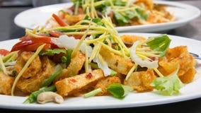 Crispy Fish Maw in Spicy Salad. Delicious Crispy Fish Maw in Spicy Salad stock image