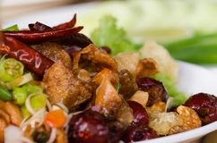 Crispy Fish Maw in Spicy Salad. In set of Thai foods Stock Photo
