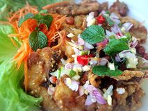Crispy Fish Salad. Thai-styled crispy and spicy fish salad Royalty Free Stock Photo