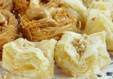 Crispy flaky Arabic sweets Baklava Royalty Free Stock Images
