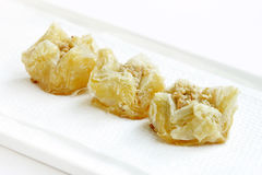Crispy flaky delicious baklava focus in middle Stock Images