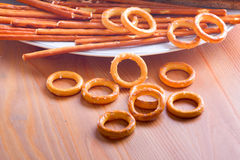 Crispy food on table crispbread. Crispy strips and biscuits on a plate Royalty Free Stock Image