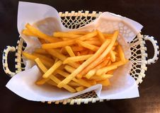 Crispy French Fries in Basket Stock Photography