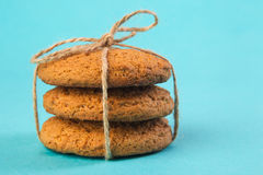 Crispy freshly baked oatmeal cookies. On a bright background Royalty Free Stock Images