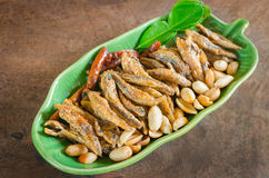 Crispy fried anchovies fish Royalty Free Stock Images