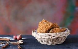 Crispy fried chicken in a basket stock photo