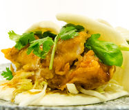 Crispy Fried Chicken in Chinese style Bun Royalty Free Stock Photo