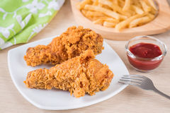 Crispy fried chicken and french fries Royalty Free Stock Image