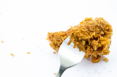Crispy Fried Chicken. Isolated Over White background Royalty Free Stock Image