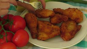 Crispy fried chicken stock video footage