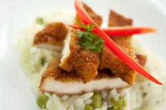 Crispy fried chicken with rice Stock Photo