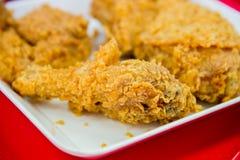 Crispy fried chicken on white plate closeup Stock Photo