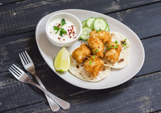 Crispy fried fish on a homemade tortilla Royalty Free Stock Photography