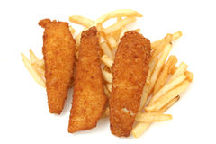 Crispy Fried Fish Planks and Fries Stock Photos