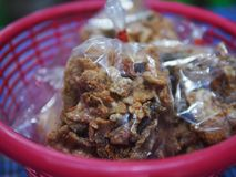 Crispy Fried Fish Skin street food stock image