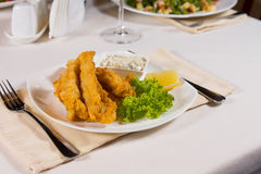 Crispy Fried Meat, Lettuce and Dip on Plate Royalty Free Stock Images