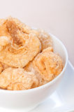 Crispy fried pork fat also known as chicharon Stock Photography