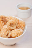 Crispy fried pork fat also known as chicharon Stock Image