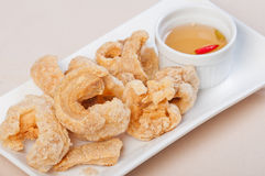 Crispy fried pork fat also known as chicharon Royalty Free Stock Images