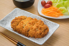 Crispy fried pork on plate and soup, Japanese food style Royalty Free Stock Images