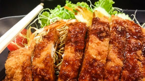 The crispy fried pork and vegetable with sauce in black plate, t. Crispy fried pork and vegetable with sauce in black plate, tonkatsu , Japanese food stock images