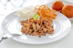 Crispy Fried Pork on White Plate. Royalty Free Stock Photos