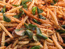 Crispy fried worm. Mix salt and wild lime leaf Royalty Free Stock Photos