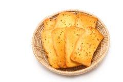 Crispy garlic bread in basket Stock Images