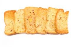 Crispy garlic bread on white Royalty Free Stock Images