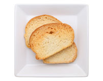 Crispy garlic butter bread. In white plate, isolated on white background Stock Image