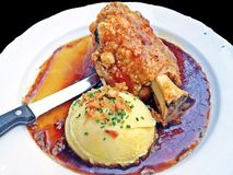 Crispy German pork knuckle Stock Images