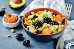 Crispy goat cheese blackberry arugula chicken avocado salad. Toning. selective focus stock photos