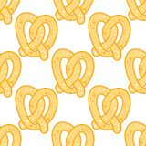 Crispy golden pretzel seamless background pattern Stock Photos