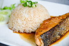Crispy grilled salmon steak. Stock Photography