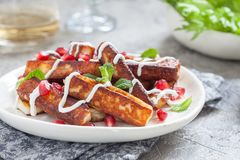 Crispy Halloumi cheese sticks Fries with yogurt sauce, pomegranate seeds and mint. Leaves Stock Photo