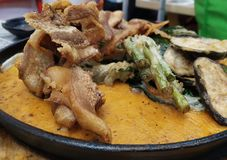 Crispy Kare kare with fried vegetables stock photos