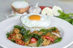 Crispy kurczak gotujący z słodkim basilem je z ryż i jajkiem Obraz Stock
