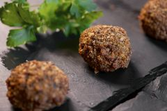 Crispy meatballs. Forefront of a group of crispy meatballs Stock Photography