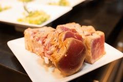 Crispy medium rare grilled tuna meat Royalty Free Stock Image