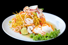 Crispy noodles with seafood spicy salad Stock Photo