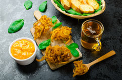 Crispy Onion Bhajis Royalty Free Stock Images