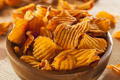 Crispy Orange Sweet Potato Chips Stock Photography