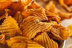 Crispy Orange Sweet Potato Chips Stock Photo