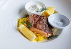 Crispy Łososiowy stek Fotografia Royalty Free