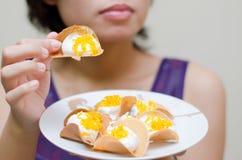 Crispy pancake. Kind of Thai sweetmeat filled pancake in thai call kà-nŏm bêuang yuan stock photos