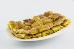 Crispy pancake named -roti-,fr ied bread with butter and egg Stock Photos