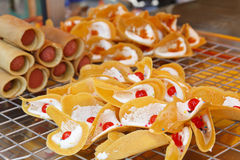 Crispy Pancakes. On cooling rack, kind of Thai sweetmeat, Thailand Royalty Free Stock Images