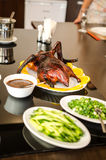 Crispy Peking duck with pancakes Stock Photo