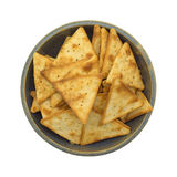 Crispy pita snack crackers in an old bowl Stock Photos