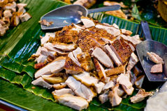 Crispy pork on banana leaf Royalty Free Stock Photography